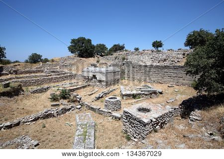 The seventh century Sanctuary of the ancient city of Troy (700BC - 1BC) with ruins of twelve cities built on top of each other (Troy I to Troy XII), in Anatolia, Turkey.