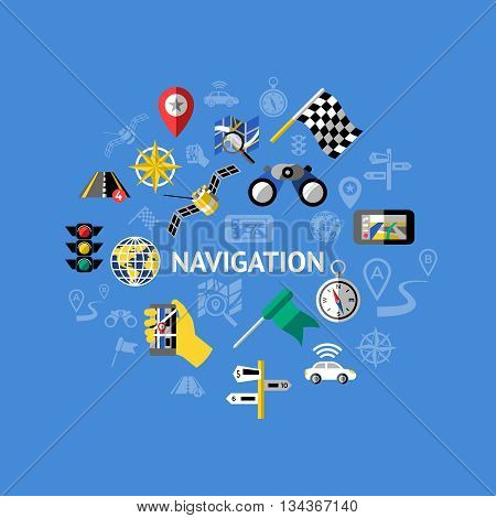 Car navigation composition with isolated colored icon set and title navigation in the center vector illustration