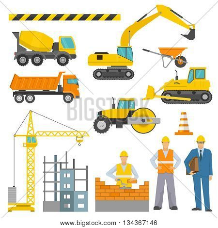 Construction decorative icons set with barrier tape workers truck crane road roller excavator bulldozer isolated vector illustration
