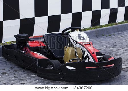 the racing card on a outdoors track