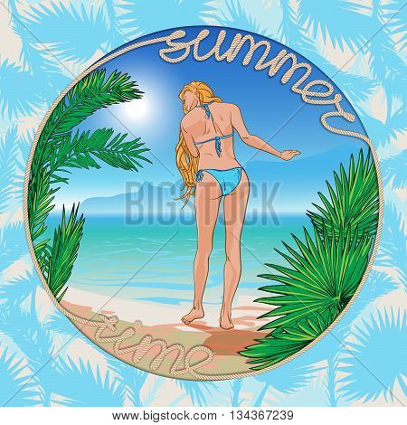 Tropic Paradise. Young beautiful blond girl wearing blue bikini with a sea side panorama on a background framed with palm leaves and a sign made of a rope. EPS10 vector illustration.