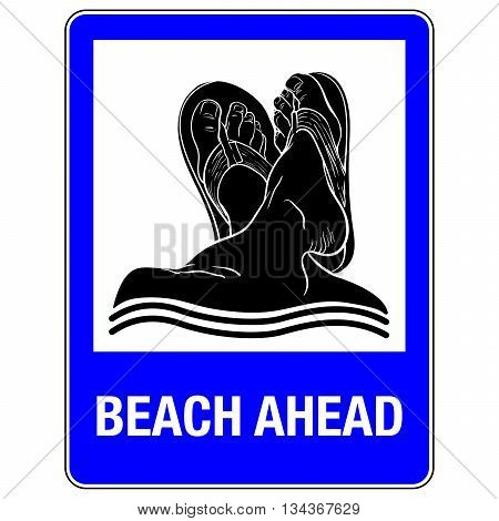 Comical drawing imitating road sign. The sign informs about beach or other seaside facility ahead. EPS10 vector illustration.