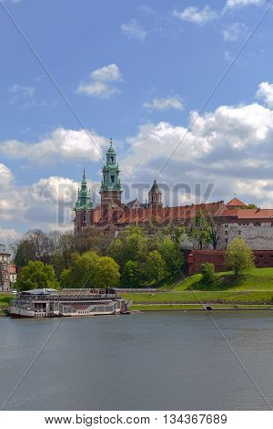 View on Wawel Royal Castle and Vistula boulevards Krakow Poland.