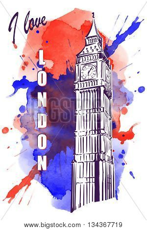 Big Ben drawn in a simple sketch style. Isolated contour on watercolor spot. EPS10 vector illustration.