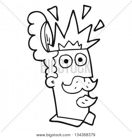 freehand drawn black and white cartoon man with exploding head