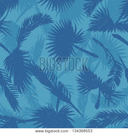 Palm trees leaves seamless pattern in cold hues. EPS10 vector illustration.