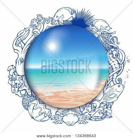 Summer Memories. Ideal seaside panorama enclosed into a glass globe framed with outlines of coral reef inhabitants. EPS10 vector illustration.
