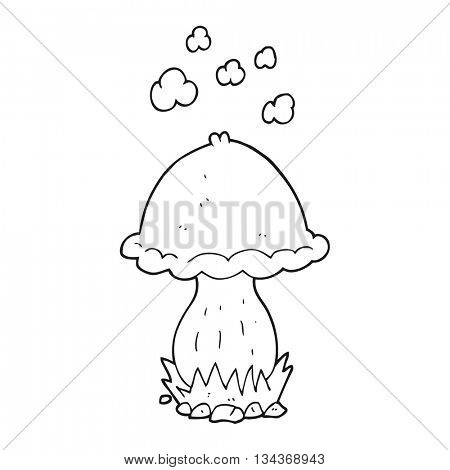 freehand drawn black and white cartoon toadstool