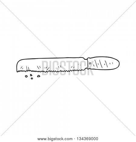 freehand drawn black and white cartoon bread knife