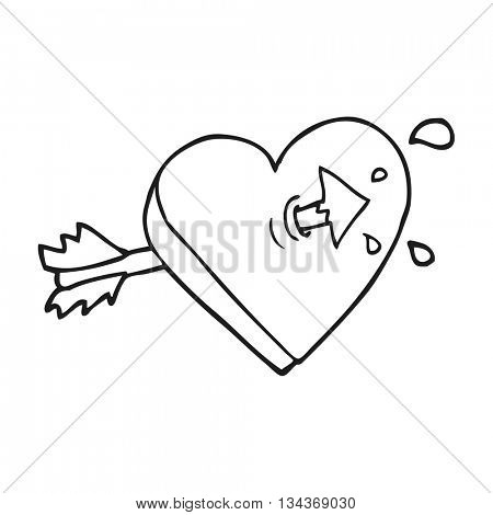 freehand drawn black and white cartoon arrow through heart freehand drawn black and white cartoon