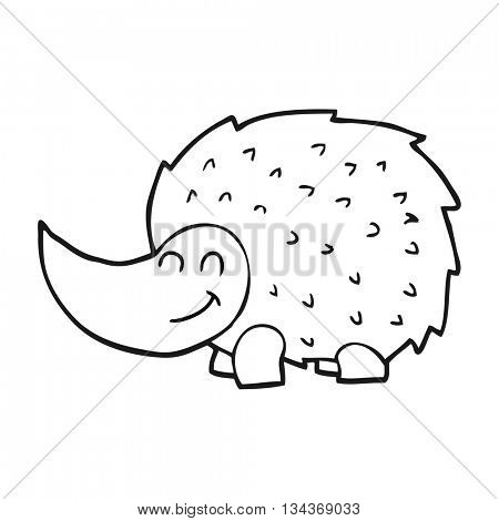 freehand drawn black and white cartoon hedgehog