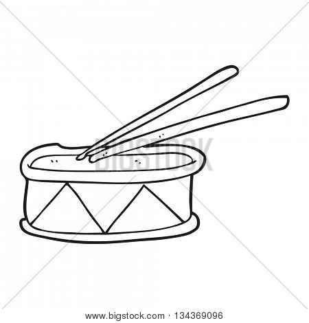 freehand drawn black and white cartoon drum