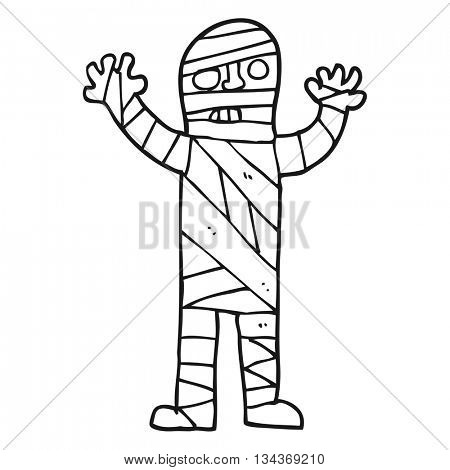 freehand drawn black and white cartoon bandaged mummy