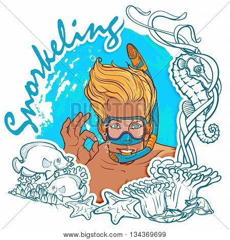 Blond smiling boy with snorkel and diving mask showing OK sign. Sea wildlife frame. Snorkeling card. EPS10 vector illustration.