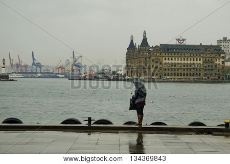 Istanbul Turkey - April 18 2014: Istanbul Haydarpasa Terminal or Haydarpasa Terminus (Turkish: Haydarpasa Garı) is a railway terminal in Istanbul. Until 2012 the station was a major intercity regional and commuter rail hub as well as the busiest railway s