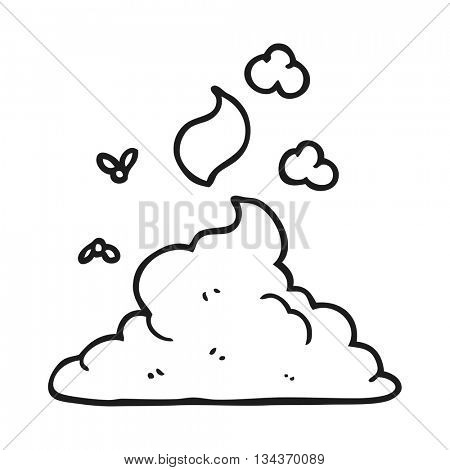 freehand drawn black and white cartoon steaming pile of poop