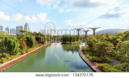 Panorama of Singapore gardens by the Bay