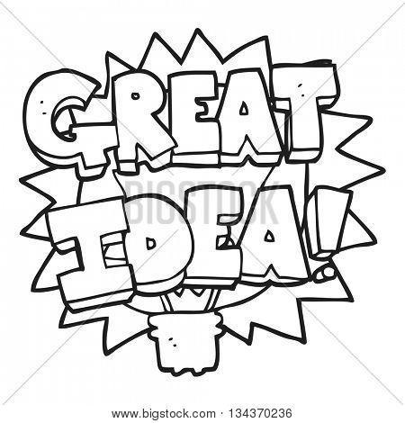 freehand drawn black and white cartoon GREAT IDEA! symbol