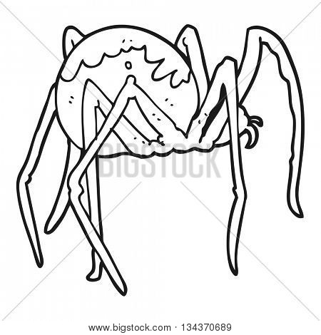 freehand drawn black and white cartoon creepy spider