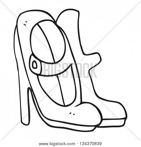 freehand drawn black and white cartoon high heeled shoes