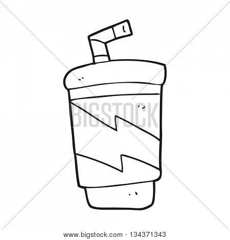 freehand drawn black and white cartoon soda drink