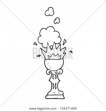 freehand drawn black and white cartoon magic goblet