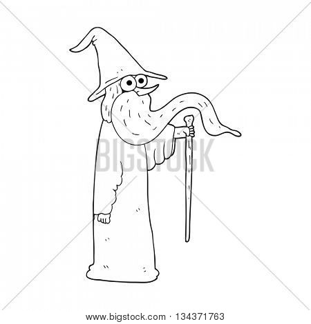 freehand drawn black and white cartoon wizard