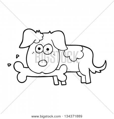 freehand drawn black and white cartoon dog with bone