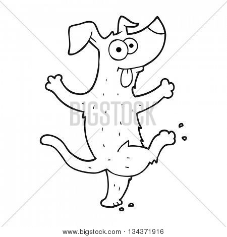 freehand drawn black and white cartoon dancing dog