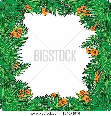 Tropical thicket. Palm tree leaves and yellow trumpetbush flowers frame. Summer design template. Decorative symmetrical border. EPS10 vector illustration.