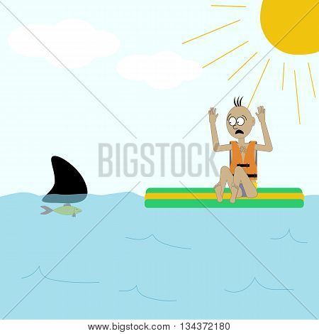 Shark attack illustration. Fish on the water. Man in the sea. Vector illustration