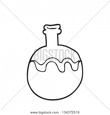 freehand drawn black and white cartoon magic potion
