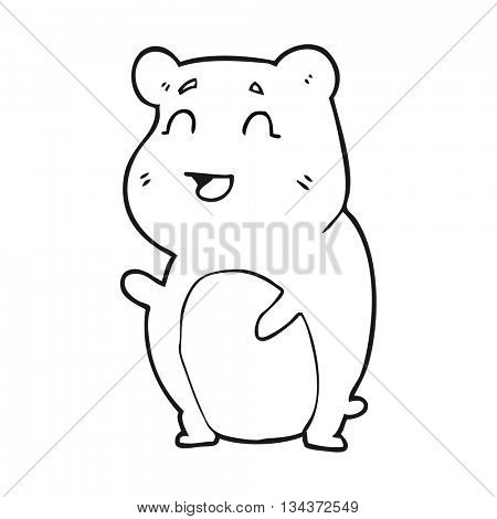 freehand drawn black and white cartoon cute hamster