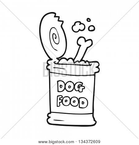 freehand drawn black and white cartoon dog food