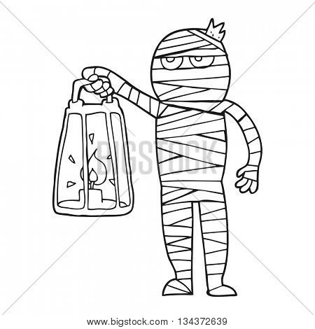 freehand drawn black and white cartoon mummy