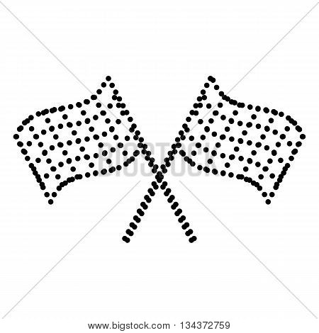 Crossed checkered flags logo waving in the wind conceptual of motor sport. Dot style or bullet style icon on white.