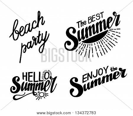 Hand drawn lettering elements for Summer calligraphic designs. All for Summer holidays. Beach party. The Best summer. Hello summer. Enjoy the Summer. Vector illustration.
