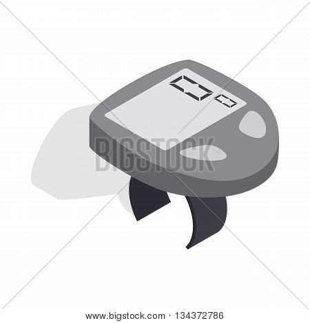 Bicycle speedometer computer icon in isometric 3d style on a white background