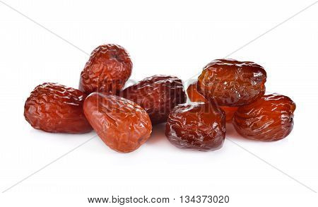 dried and sweetened Jujube fruit on white background