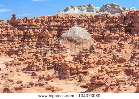 Dome Surrounded By Hoodoo Rock Pinnacles In Goblin Valley State Park, Utah,  Usa