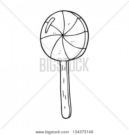 freehand drawn black and white cartoon lollipop