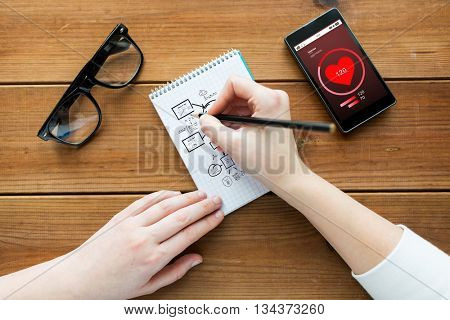 health care, planning and people concept - close up of woman or student drawing scheme in notepad with pencil and eyeglasses with heart rate on smartphone on wooden table