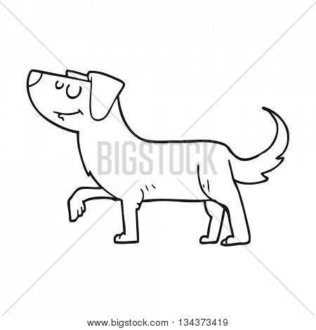 freehand drawn black and white cartoon dog