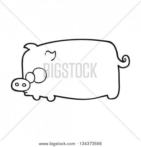 freehand drawn black and white cartoon pig