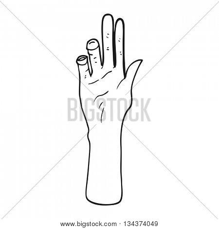 freehand drawn black and white cartoon reaching hand