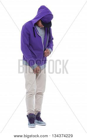 Young and careless afro man zipping his sweatshirt. Isolated image on white background.