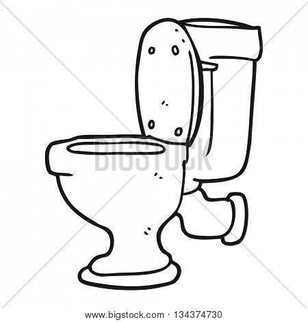 freehand drawn black and white cartoon toilet