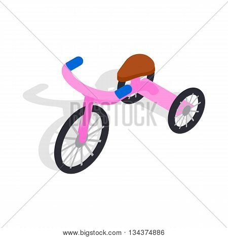 Pink tricycle icon in isometric 3d style on a white background