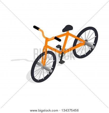 Orange bike icon in isometric 3d style on a white background