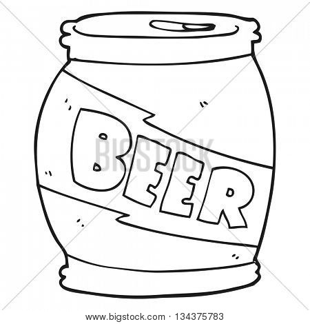freehand drawn black and white cartoon beer can